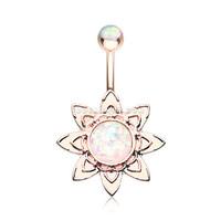 Rose Gold Starburst Opal Sparkle Flower Belly Button Ring (White)