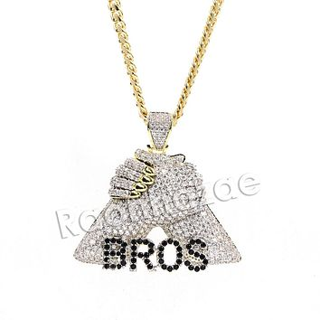 Hiphop BMF Bros Fist Brass Pendant W/ 5mm 18-30 inches Cuban Chain
