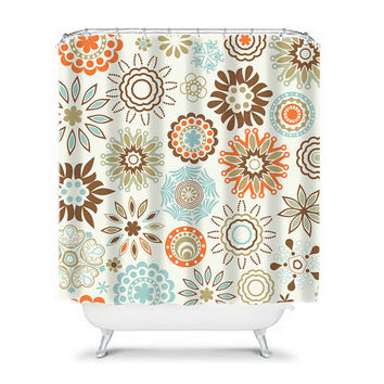 Shower Curtain Brown Aqua Blue Orange Mandala Flower Circle Floral Pattern Bathroom Bath Polyester Made in the USA