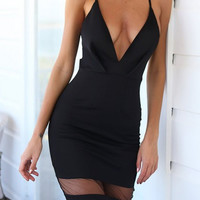 Black Plunging V-Neckline High Waist Midi Dress with Mesh Cut-out Details
