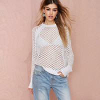 White Cutout Detail Raglan Sleeves Knitted Pullover Sweater