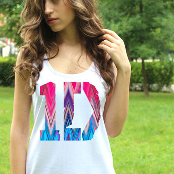 One Direction Tank Top Logo 4 Aztec Tee 1D Shirt Pop Rock Women Shirt White Harry Style Lady Tank Tops Lady Fit Crop Top T Shirt