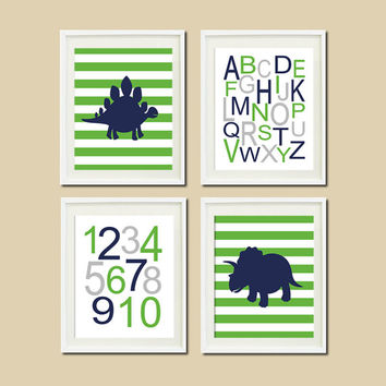 DINOSAUR Theme NURSERY Wall ART Navy Green Alphabet Numbers Baby Boy Artwork Set of 4 Prints Dino Playroom Wall Decor Art Picture Bedding