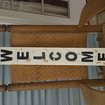 Welcome wood porch sign, vintatge hand painted wood sign art