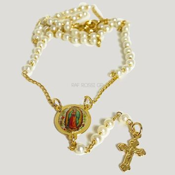 Faux Pearl Rosary  3mm Beads Guadalupe Rosary 18Kts Of Gold Plated