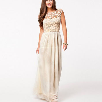 Lace Chiffon Backless Long Prom Dress