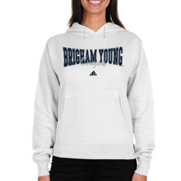 adidas Brigham Young Cougars Women's Divided Hoodie Sweatshirt - White