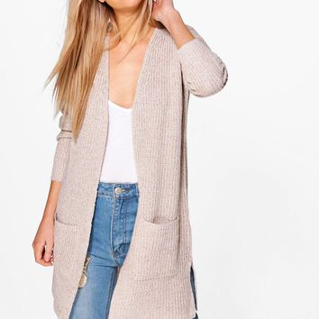 Isobel Shawl Collar Fisherman Rib Knit Cardigan