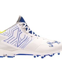 Under Armour Banshee Mid Cleat 2016 - White/Royal | Lacrosse Unlimited