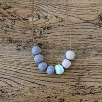 No. 5- Handmade polymer clay beads featuring grey granite stone, mint geometric shape and light grey