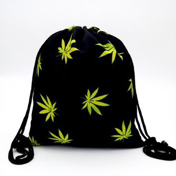 Black & Yellow Drawstring Backpack