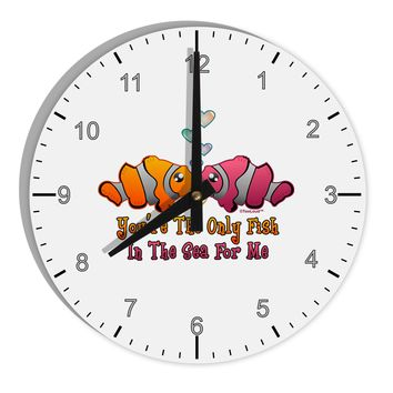 """Kissy Clownfish Only Fish In The Sea 8"""" Round Wall Clock with Numbers"""