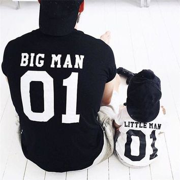 ESBON5U Spring Summer Family Matching Clothes Dad Son Outfits Cotton Solid Color Printed Big Man Little Man T-shirt Men Boys T-shirt