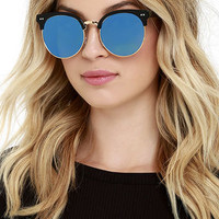 X-Ray Edition Black and Blue Mirrored Sunglasses