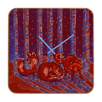 Renie Britenbucher Fox In Birch Batik Custom Clock