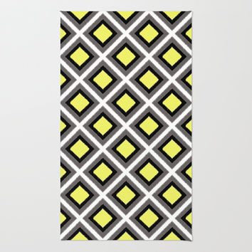 Grey, Black, Yellow Ikat Diamonds Area & Throw Rug by Inspired By Fashion