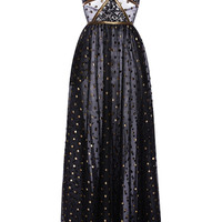 Lace Maxi Dress With Gold Embroidered Detail | Moda Operandi