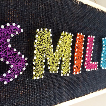 SMILE!!! Wall or shelf decor- string art.