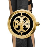 Women's Tory Burch 'Reva' Logo Dial Double Wrap Leather Strap Watch, 28mm