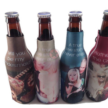 PERSONALIZED BRIDESMAID GIFTS-Wedding Favors-Wedding Gifts- Beer Can or Bottle Koozies-Great Christmas Gifts