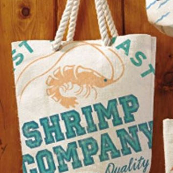 Seafood Shack - Large Beach Town Jute Tote Bag (Shrimp Company)