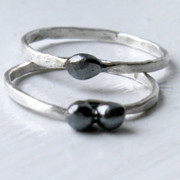 Fine Silver Rings, Delicate Stacking Rings, Slender Promise Rings, Pebble Rings