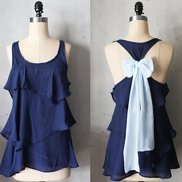 MIDNIGHT AURA - Romantic navy blue flowy tier blouse // light baby blue // chiffon sash bow // tunic // tank top // racerback