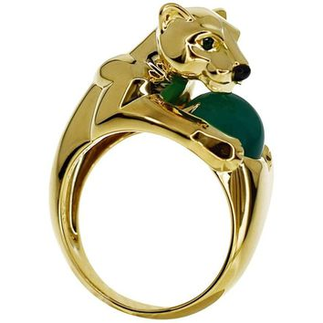 Cartier Panthere Vedra 18 Karat Yellow Gold Agate Emerald Onyx Ring