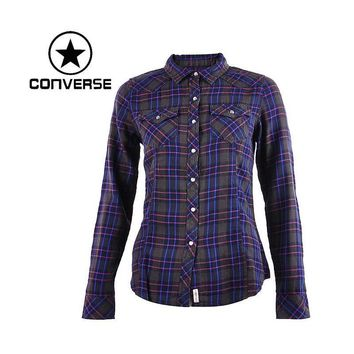 Original Converse Women's Shirts Sportswear Long Sleeve plaid - Blue or Red