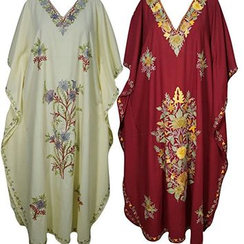 Mogul Womens Caftan Kashmiri Embroidered Kaftan Holiday Maxi Dress Wholesale Lot Of 2Pcs