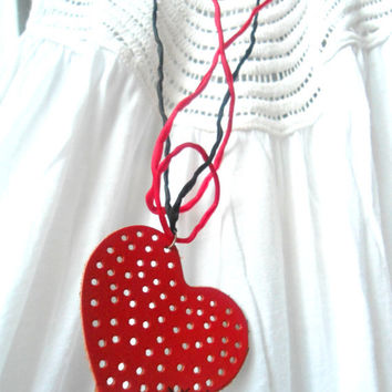 red pierced Leather heart necklace on SILK cord- love jewelry- soft fine design necklace- high quality materials- valentines fashion- sexy