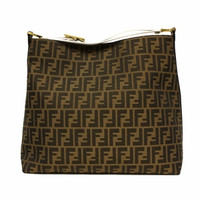Fendi Canvas Hobo 8Br653 Tobacco White