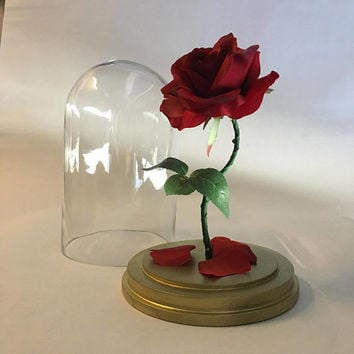 Beauty and the Beast Rose, Enchanted Rose, Rose in Glass Dome, Gold Base, Light Up Rose, LED Lights - 11""