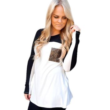 NEW Patchwork T-Shirt Women Autumn Winter Ladies O-Neck Long Sleeve Leopard Printed Pocket Shirts Girls Casual Tee Tops #LH