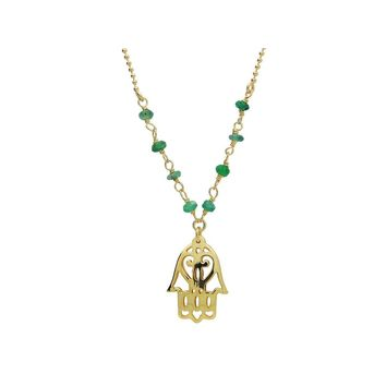 """Silver Gold Plated 16""""+ 2"""" Necklace Jade Beads and Hamsa Hand Pendant"""