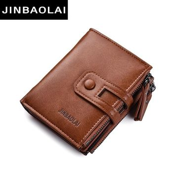 Tri-bifold Wallet Purse PU Leather Men's Wallet Hasp Design Small Mens Wallets With Zipper Coin Pocket Functional Small Wallets