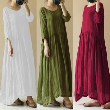 Celmia 2018 Summer Dress Women O Neck Long Sleeve Cotton Linen Long Maxi Dresses Kaftan Solid Casual Loose Plus Size Vestidos