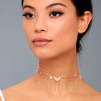 Horoscope Rose Gold Layered Choker Necklace