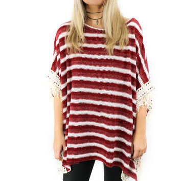 Dresden Tower Wine & White Striped Sweater Knit Poncho With Fringe Trim