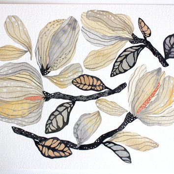 Magnolia Painting - Watercolor Art - Large Archival Print - 11x14 Magnolia Branches