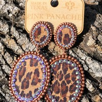 Pink Panache Leopard Double Oval Earrings - Rose Gold