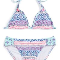 Girl's Billabong 'Hippie Halter' Print Two-Piece Swimsuit