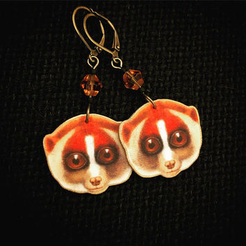 Lemur Earrings - Lemur Jewelry - Lemur Love - Lemur Gift - Zoo Earrings - Lemur Art - Madagascar Animal - Nocturnal Animal - Plastic