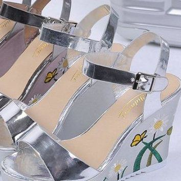 Silver or Pewter Daisy Wedge Sandals