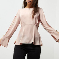 Light pink split sleeve blouse - blouses - tops - women