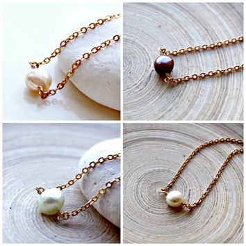 Freshwater Pearl Necklace,Gold choker,June Birthstone, Single Pearl necklace, short necklace, Bridesmaids gift, Gold choker,Wedding necklace