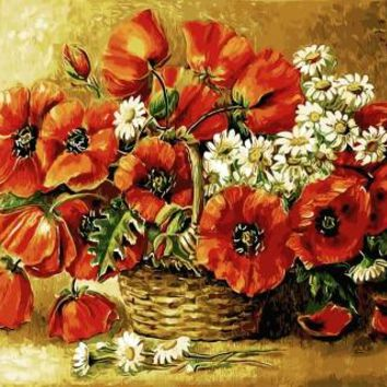 Red Flower Painting By Numbers Frameless DIY Canvas Oil Painting Wall Art Home Decor for Living Room of Flower GX9390 40*50cm