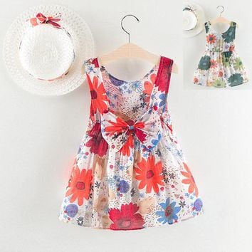 Newborn Baby Girls Floral Print Bowknot Princess Dress+Hat Casual Outfits Set