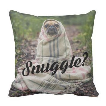 Cute Dog Wrapped In Blanket Photo Throw Pillow