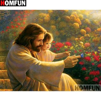 5D Diamond Painting Jesus and a Blue Butterfly Kit